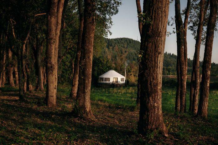 Похожая на палатку Белая юрта расположена на травянистой площадке перед лесом.