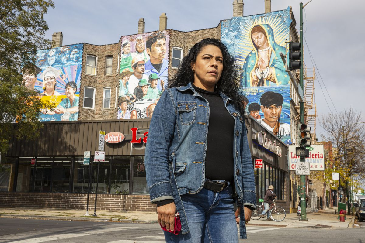 Alma Silva poses for a portrait at the corner of W 19th St. and S Ashland Ave in Pilsen, Wednesday, Oct. 21, 2020. | Anthony Vazquez/Sun-Times
