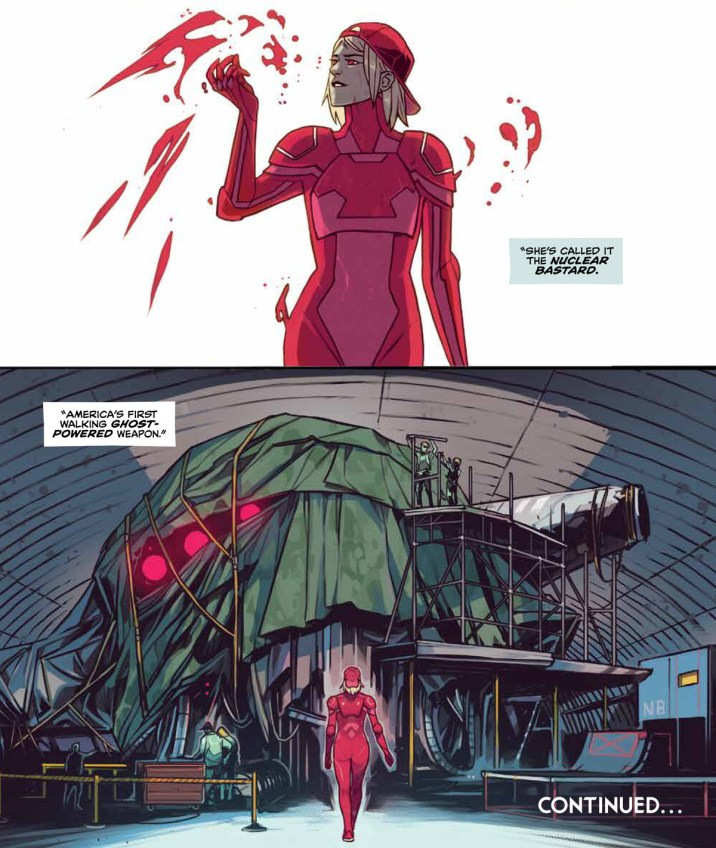 "A woman in a red backwards baseball cap and a red jumpsuit surrounded by floating red shapes walks into an airplane hangar where a giant shape is concealed under a tarp, a narration box says ""She's called it the Nuclear Bastard, America's first walking ghost-powered weapon,"" in Home Sick Pilots #5, Image Comics (2021)."