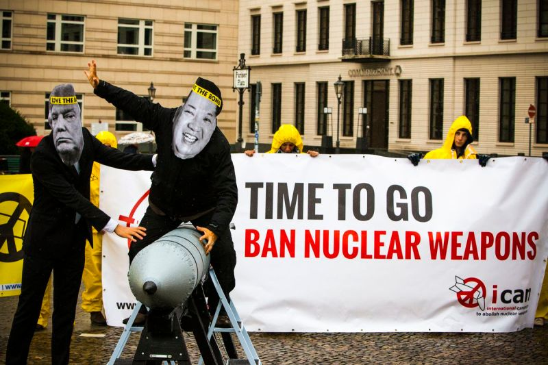 International campaign to abolish Nuclear Weapons (ICAN) activists in front of the American Embassy in Berlin, Germany, on September 13, 2017.