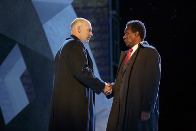 Corey Stoll as Brutus and John Douglas Thompson as Cassius in the Shakespeare in the Park production of Julius Caesar