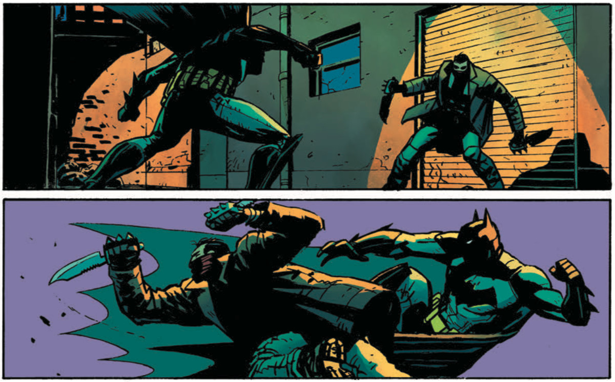 Next Batman aka Tim Fox in Future State beats up a Bane mask gang member