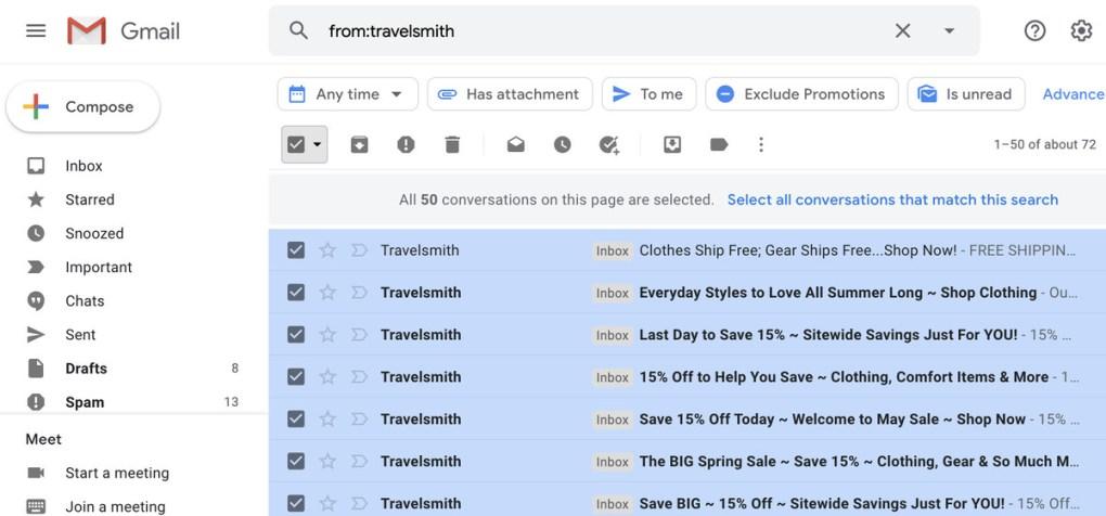 Nếu bạn có nhiều trang email khớp với tìm kiếm, bạn có thể chọn tất cả các email khớp với trang đó.