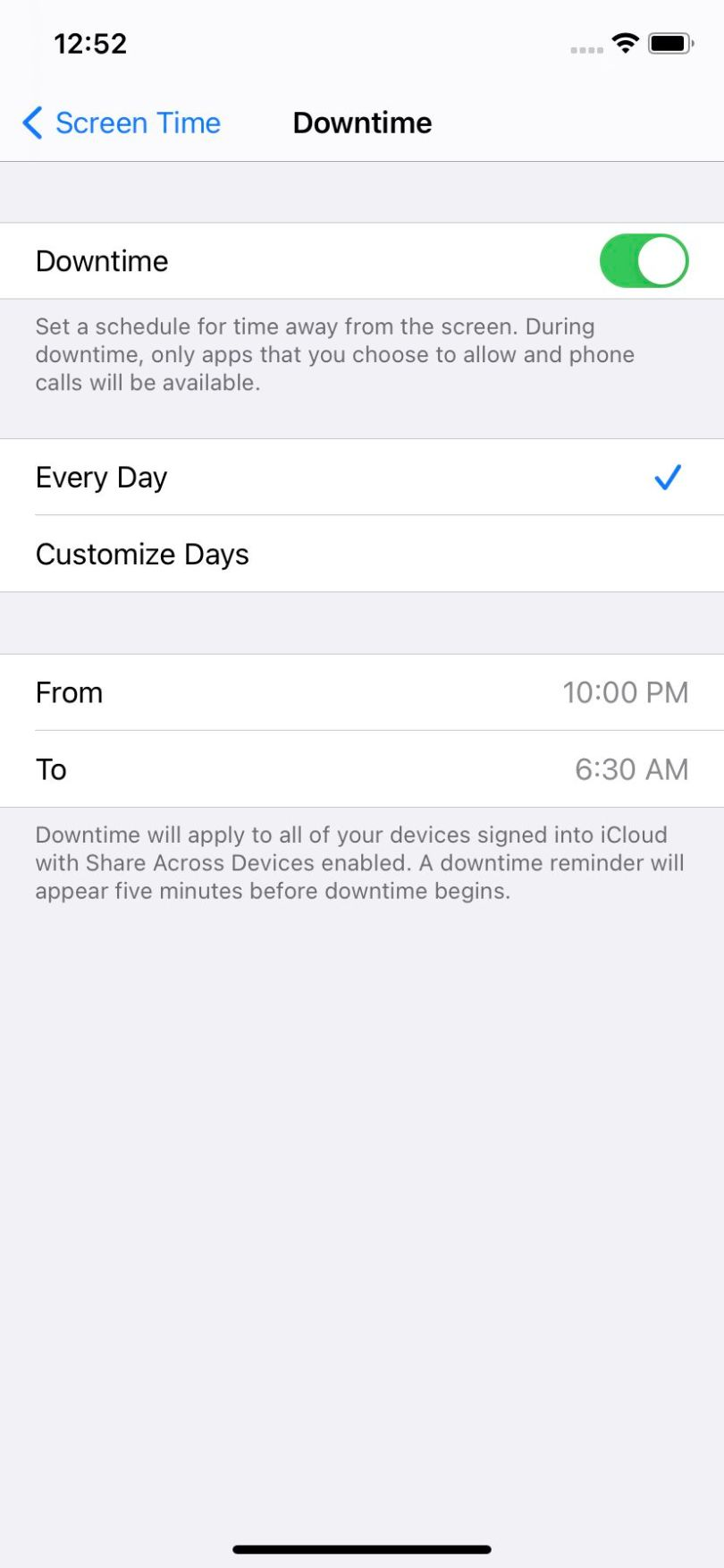 You can set Downtime for everyday or specific days, and for set times for each day