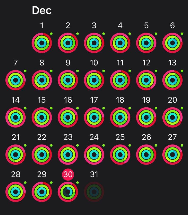 Screenshot dell'app di fitness con un mese pieno di anelli chiusi