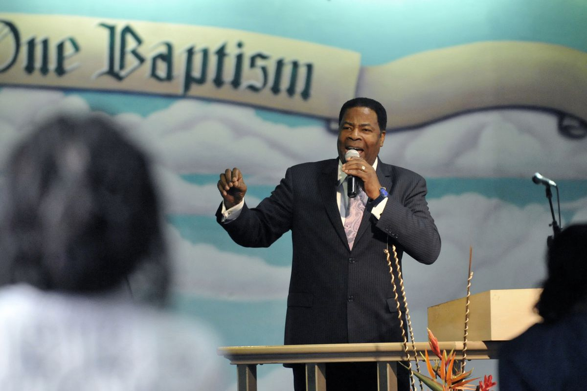 Bishop Jerry Jones preaches at the Apostolic Assembly of the Lord on December 21, 2010.