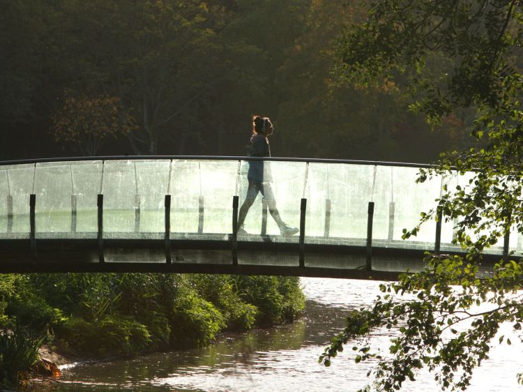 A woman walks listening to music with headphones on the bridge over canal during the autumn afternoon at the Rembrandt Park on October 24, 2019, in Amsterdam, Netherlands.