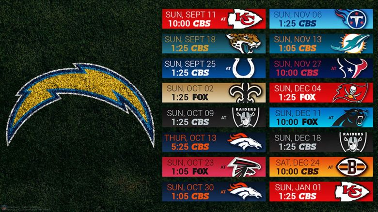 Chargers 2016 schedule wallpaper - Bolts From The Blue