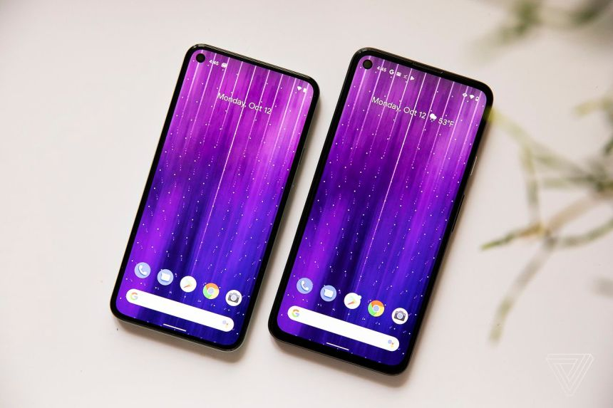 The Pixel 5 (left) and the Pixel 4A 5G (right)