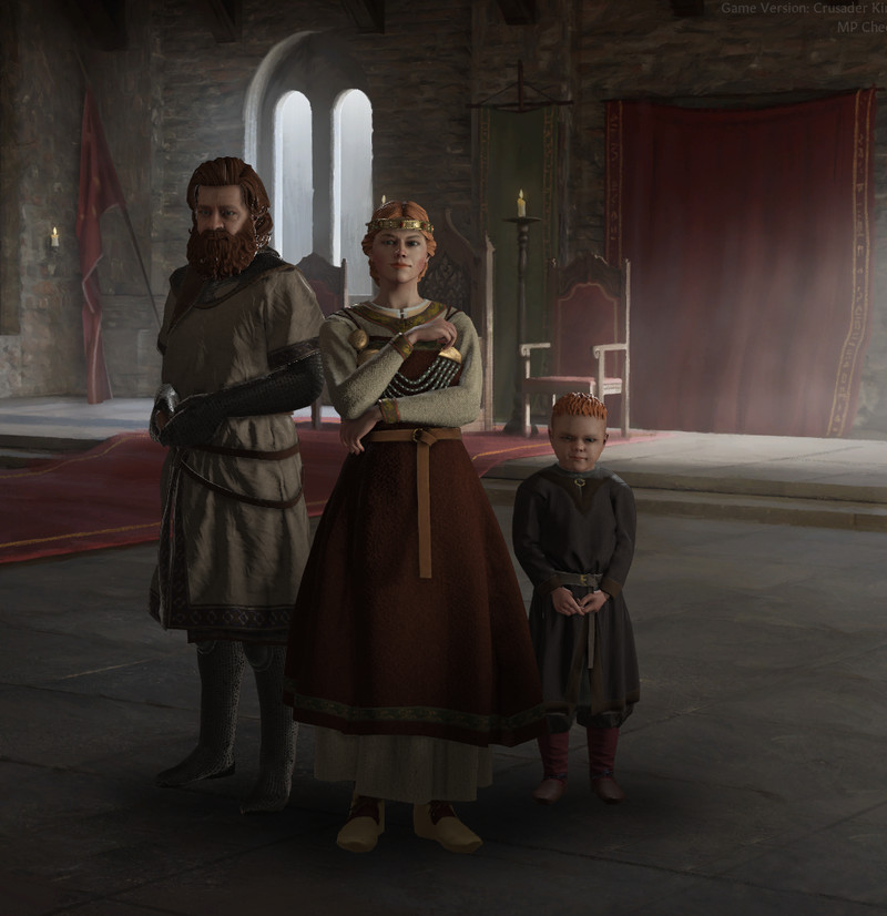 Crusader Kings 3 - a High Queen stands in medieval garb, next to her husband, and young heir
