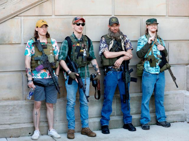 Facebook has banned hundreds of accounts linked to the far-right militia group Boogaloo Bois. Hawaiian shirts are a kind of uniform for its members.