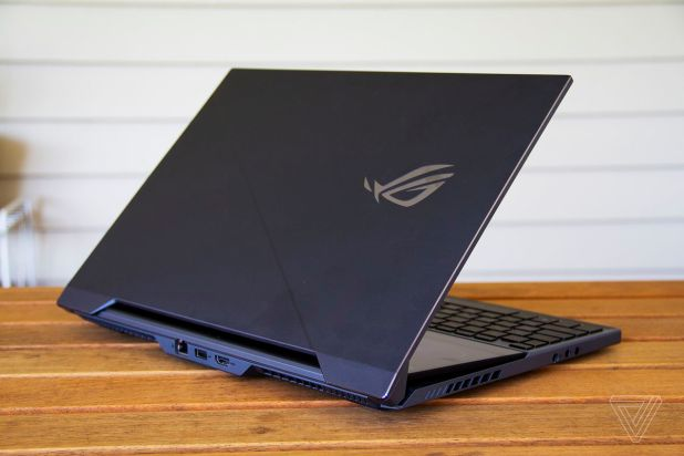 Windows Phone: The Asus ROG Zephyrus Duo 15 half open from the back.