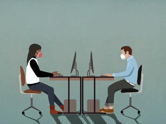An illustration of two people working on computers at desks while facing each other and wearing masks.