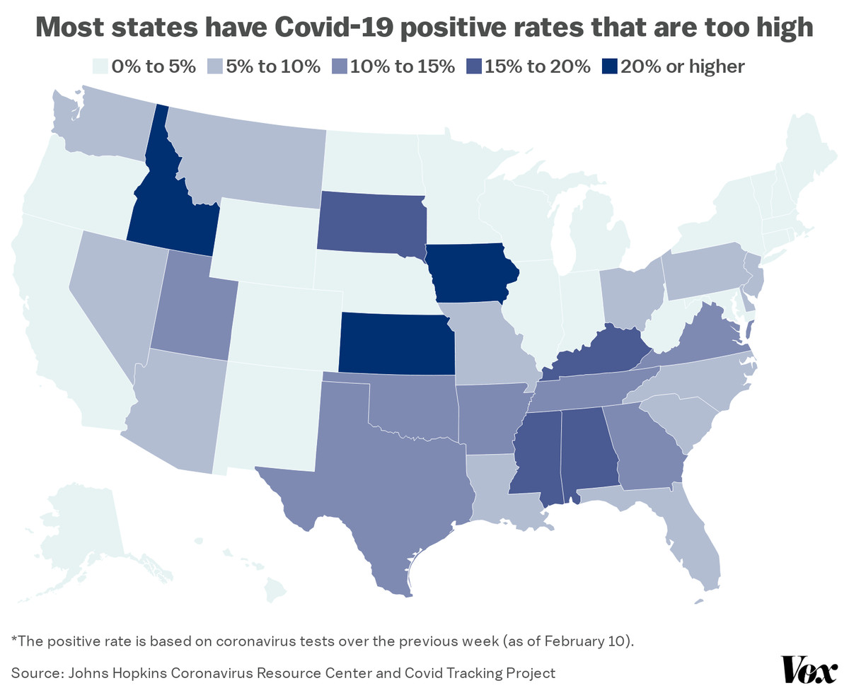 A map of Covid-19 positive rates in each state.