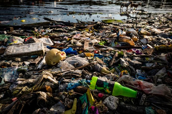 Plastic wastes fill a beach in Manila, Philippines, on April 18, 2018.