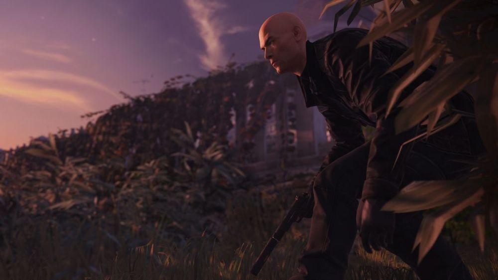 Hitman 2 - Agent 47 accroupi près des buissons