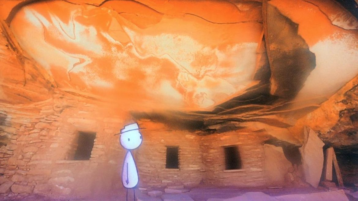 Bill stands against a burning landscape in It's Such a Beautiful Day