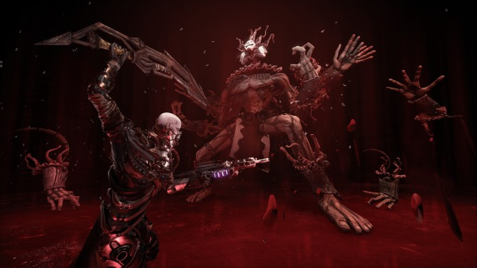 Hellpoint man using a sword to fight a multi-limbed boss