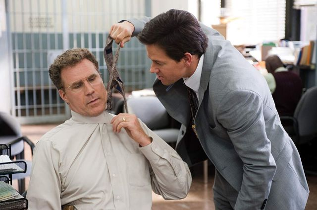Mark Wahlberg pulls Will Ferrell's tie in a screengrab from The Other Guys
