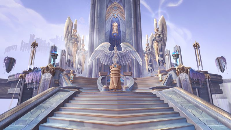 World of Warcraft - a shot of the Kyrian sanctum, a gleaming white bastion of safety beneath a blue sky.