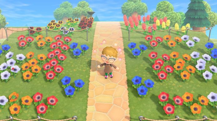 Standing in flowers in Animal Crossing: New Horizons