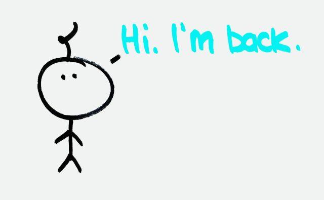 """Baby says, """"Hi. I'm back."""""""