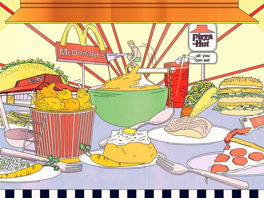 A colorful illustration of a buffet made to look like an amusement park and featuring logos for Pizza Hut and McDonald's.