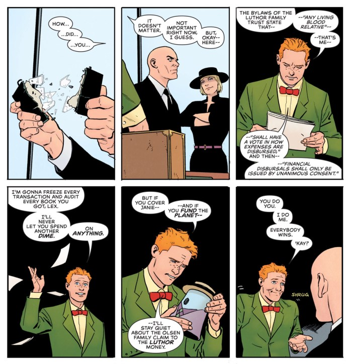 Jimmy Olsen explains that if Lex Luthor funds his sister's plays, and the Daily Planet, he won't use his power as a Luthor heir to mess with Lex's money, in Superman's Pal Jimmy Olsen #12, DC Comics (2020).