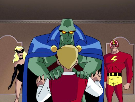 Martian Manhunter uses his telekinetic powers to reveal Ray in Justice League