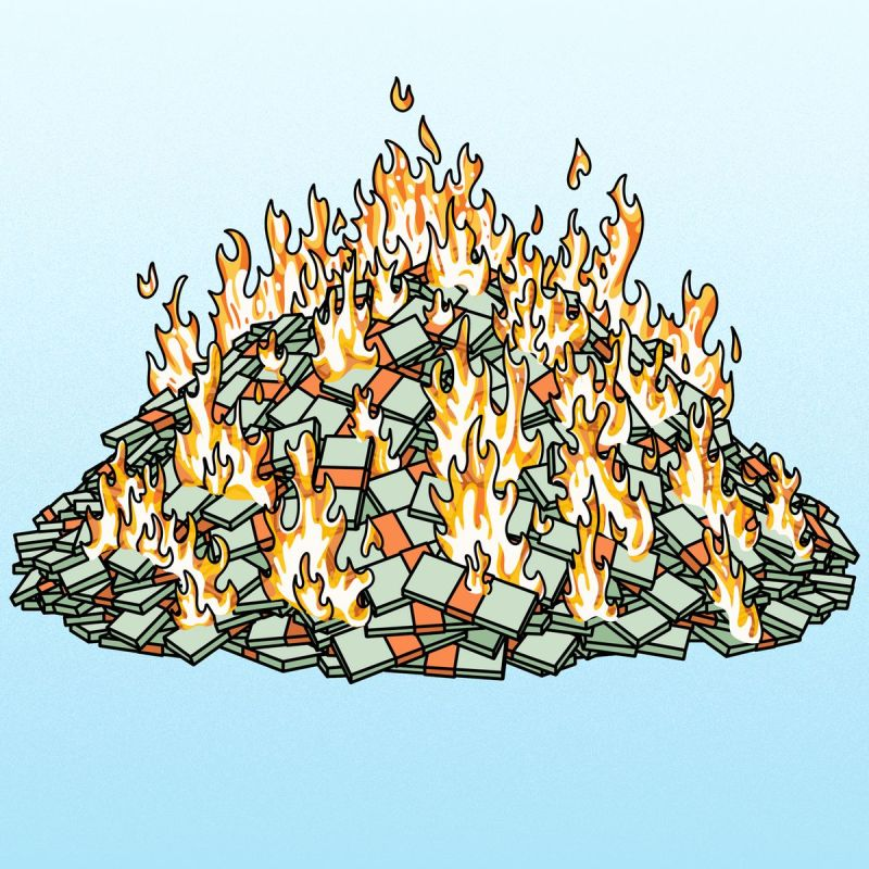 A burning pile of money