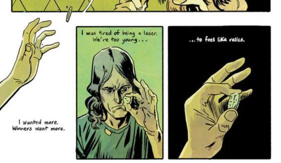 """Seorang pria menangkap koin tua saat dilemparkan kepadanya.  """"Saya ingin lebih,"""" katanya dalam narasi.  """"Pemenang menginginkan lebih.  Saya lelah menjadi pecundang.  Kami terlalu muda untuk merasa seperti relik. """"  di Silver Coin # 1, Image Comics (2021)."""