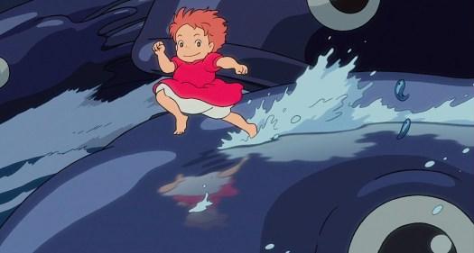 ponyo runs across the waves
