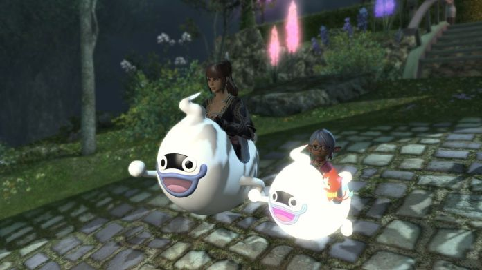 Two characters sit in a goofy-looking mount based on Whisper from Yo-Kai Watch