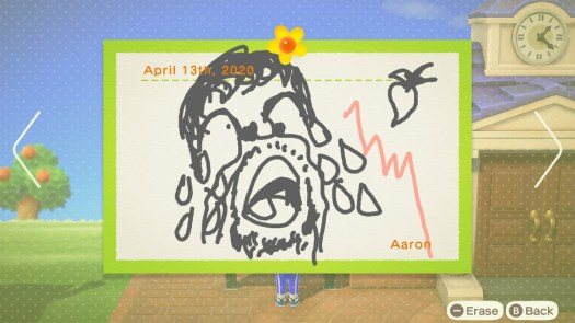 Animal Crossing: New Horizons - a picture of a man weeping at a sudden downturn in his turnip stonks on an island message board
