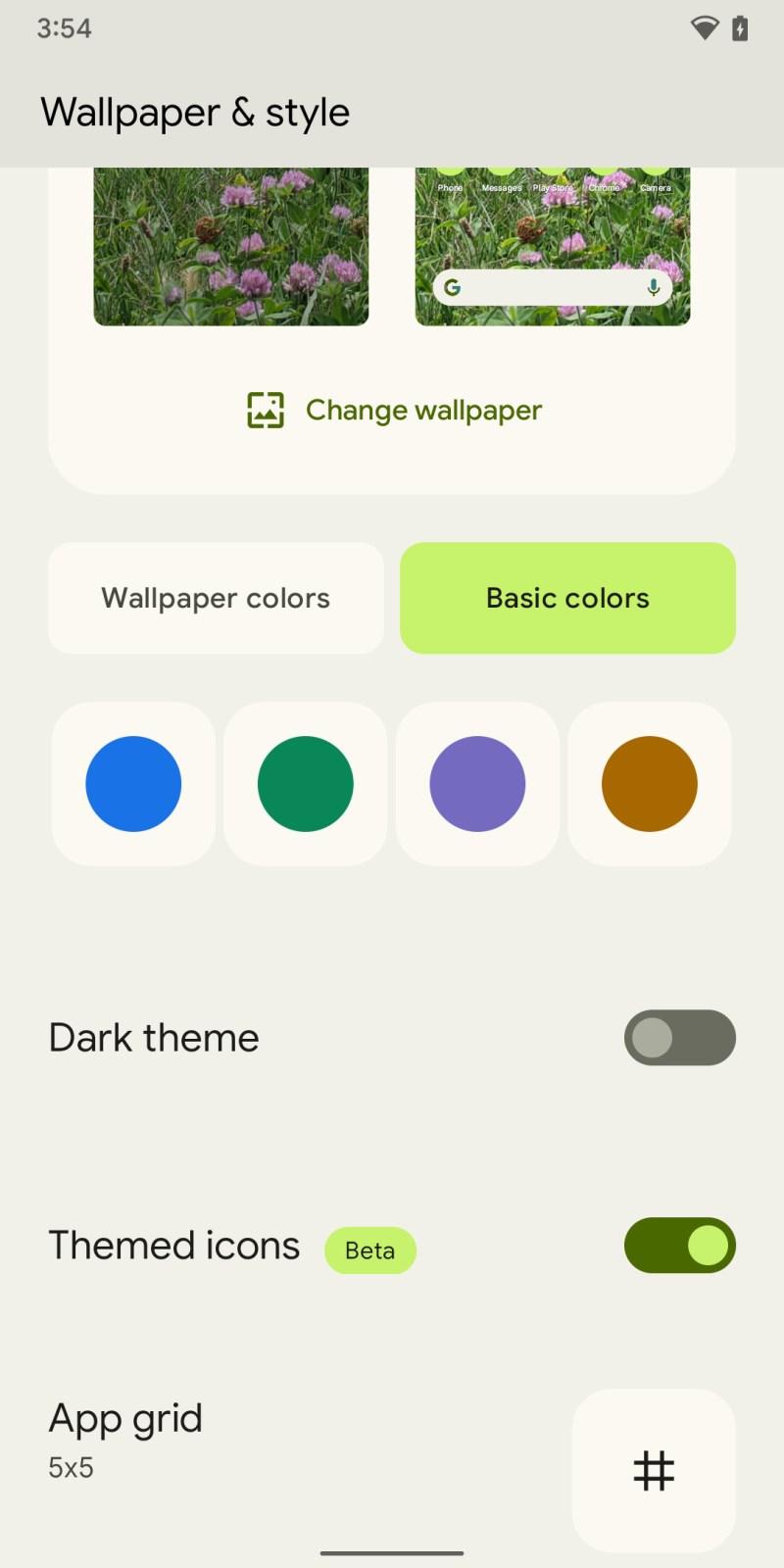 Puoi modificare i colori del tema.