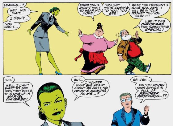 Mrs. Claus dresses She-Hulk downstairs as she sees Santa off from her office.