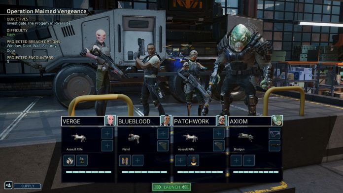 Four Chimera Squad operatives prepare for a mission. Verge is a sectoid, while Axiom looks like a type of muton. Of the two humans, one is heavily augmented with cybernetic limbs.