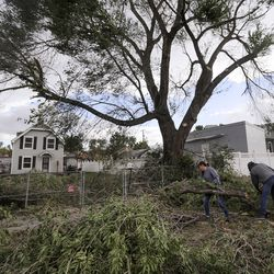 Neighbors Amanda Sanchez and James Bjerregaard move fallen tree branches near their homes in the Liberty Wells neighborhood in Salt Lake City on Tuesday, Sept. 8, 2020. A windstorm caused widespread damage in northern Utah.