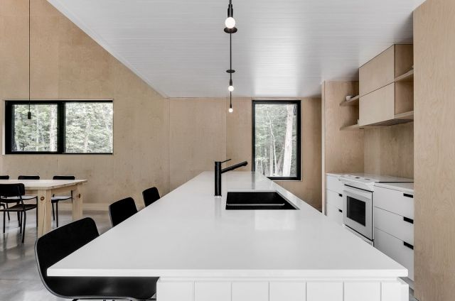 White kitchen counter with black accessories