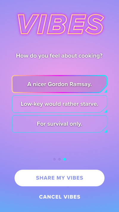 """The question asks """"How do you feel about cooking?"""" Answers including three options: """"A nicer Gordon Ramsay,"""" """"Low-key would rather starve,"""" """"For survival only."""""""
