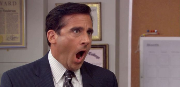 steve carell as michael in the office gasping and freaking out