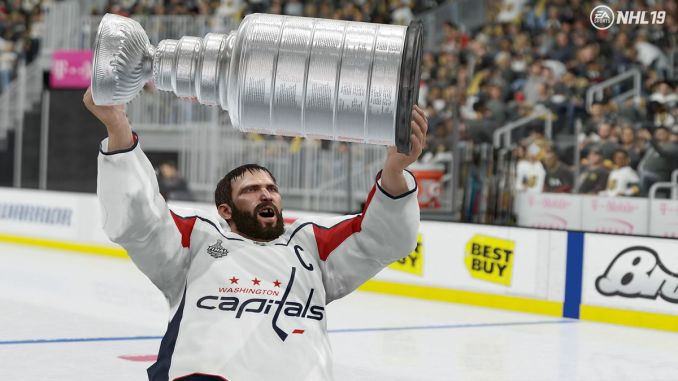 NHL 19 - Alexander Ovechkin hoisting the Stanley Cup