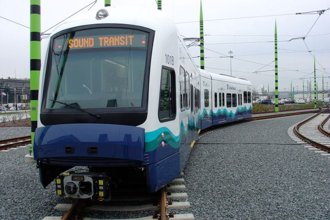 One of the initial trains for Sound Transit's Link Light Rail service for Seattle