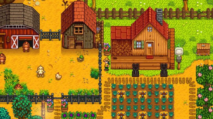 A typical scene from Stardew Valley, including a stable area and a field of crops.