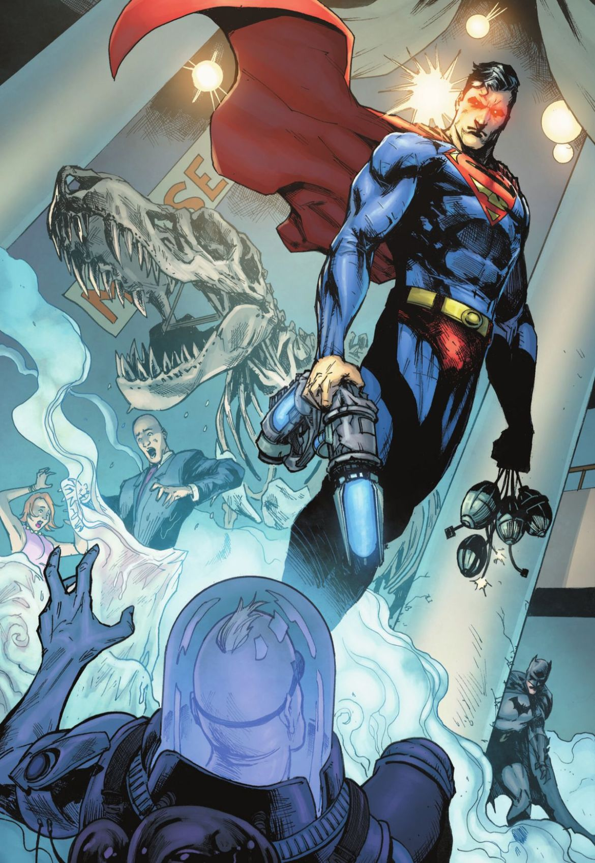 Superman, crushing Mr. Freeze's ice cannon in one hand, hovers above the supervillain with cape billowing in Justice League: Last Ride #1, DC Comics (2021).