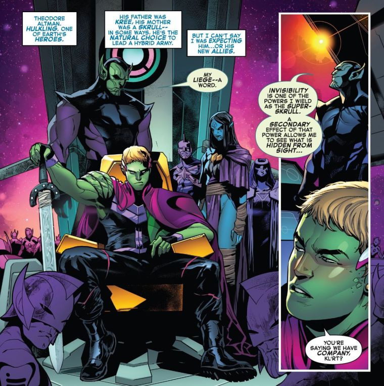 Teddy Altman/Hulkling/Emperor Dorrek VIII on his throne in the Kree/Skrull flagship, in Empyre #1, Marvel Comics (2020).