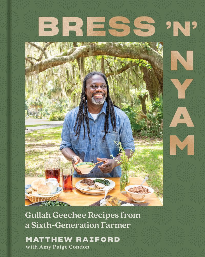 """The book cover for """"Bress 'N' Nyam"""" featuring a man and a table of food outside"""