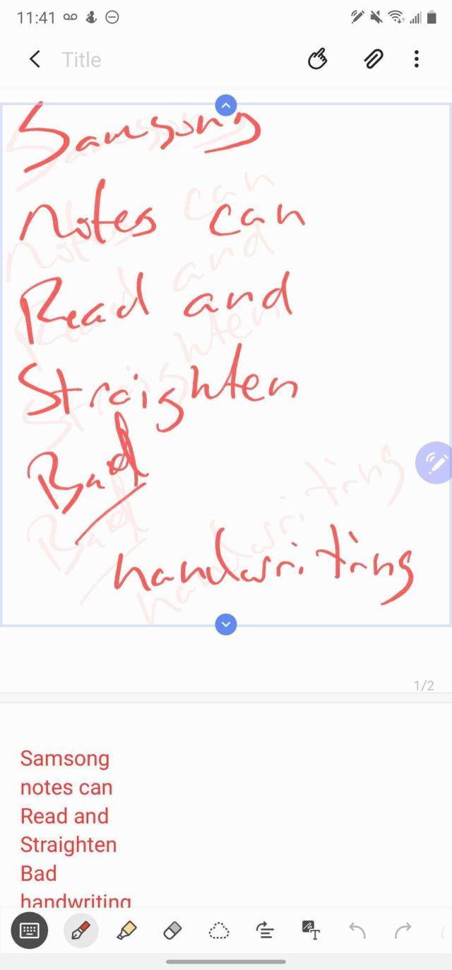 Samsung Notes can re-align your handwriting, convert it to text, and play back audio from the moment you wrote it.
