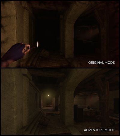 Amnesia: Rebirth Adventure mode comparison shot, showing added light to a dark level