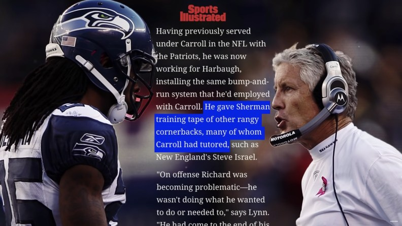 A parallax frame with a Richard Sherman and Pete Carroll picture with an article in the background.
